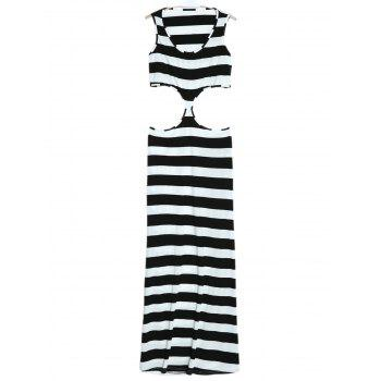 Sleeveless Scoop Neck Striped Cut Out Dress