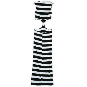 Sleeveless Scoop Neck Striped Cut Out Dress - WHITE/BLACK S