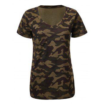Fashionable Camouflage Print Short Sleeve V-Neck T-Shirt For Women