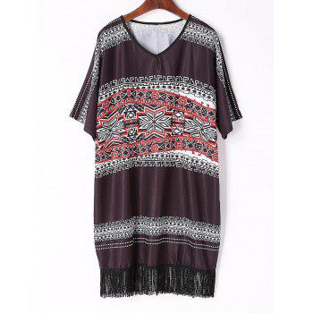 Buy Chic V Neck Half Sleeve Fringed Printed Women's Dress BLACK