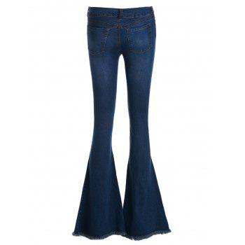 Vintage Low-Waisted Loose-Fitting Women's Bell Bottom Jeans - DEEP BLUE L