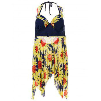 Stylish Women's Halterneck Floral Print Two-Piece Swimsuit
