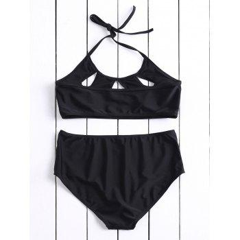 Casual Halter High-Waisted Solid Color Hollow Out Women's Bikini Set - BLACK L