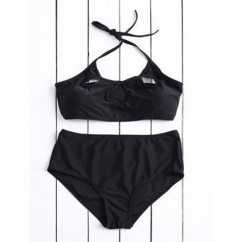 Casual Halter High-Waisted Solid Color Hollow Out Women's Bikini Set