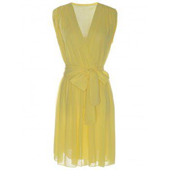 Sexy Sleeveless V-Neck Bowknot Embellished Women's Chiffon Dress - YELLOW L