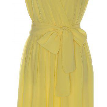 Sexy Sleeveless V-Neck Bowknot Embellished Women's Chiffon Dress - L L