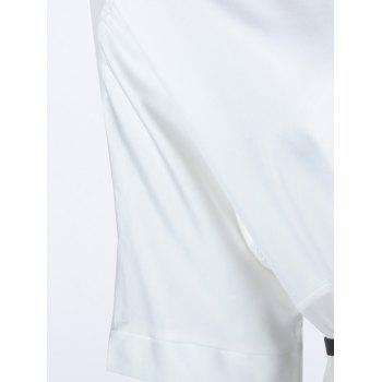 Stylish Women's V-Neck Half Sleeves Solid Color Long Blouse - WHITE S