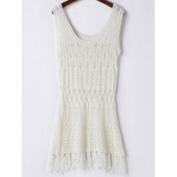 Trendy Solid Color Hollow Out Crochet Women's Cover Up