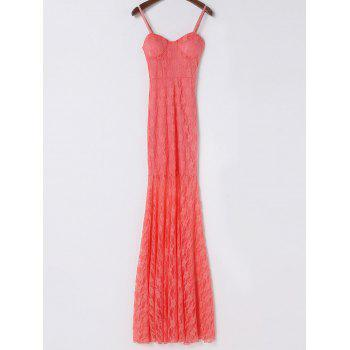 Elegant Sleeveless Spaghetti Strap Solid Color Lace Women's Dress