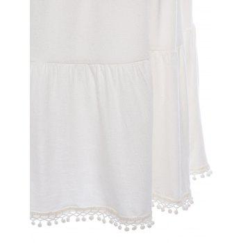 Stylish Short Sleeve V-Neck Loose-Fitting Crop Top + Solid Color Skirt Women's Twinset - WHITE M