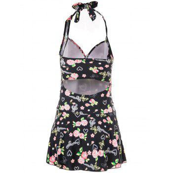 Fashionable Women's Halterneck Floral Print One-Piece Swimsuit - BLACK M