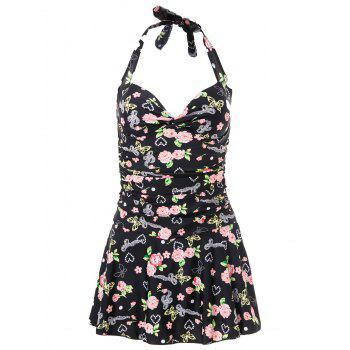 Halterneck Floral Print One Piece Swimsuit For Women