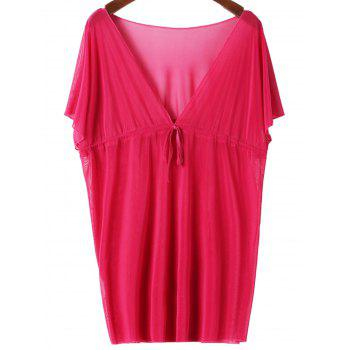 Sexy Plunging Neck Short Sleeve Solid Color Lace-Up Women's Cover Up