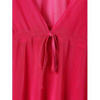 Sexy Plunging Neck Short Sleeve Solid Color Lace-Up Women's Cover Up - ROSE ONE SIZE(FIT SIZE XS TO M)