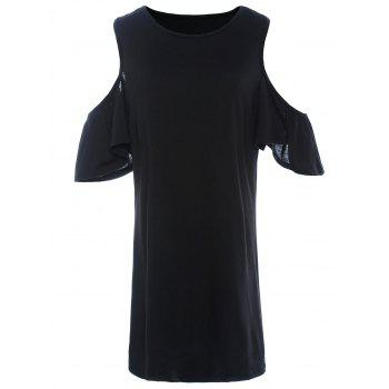 Sweet Scoop Neck Off-The-Shoulder Solid Color Short Sleeve Women's Dress - BLACK BLACK