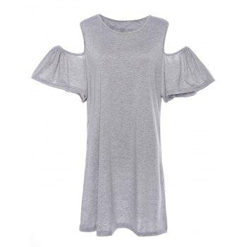 Sweet Scoop Neck Off-The-Shoulder Solid Color Short Sleeve Women's Dress - GRAY 3XL