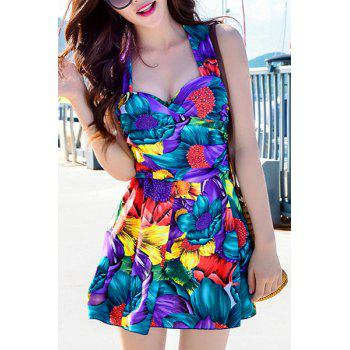 Fashionable Floral Print Criss-Cross Two-Piece Women's Swimsuit