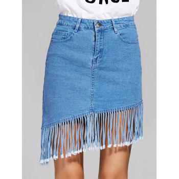 Chic High-Waisted Fringed Denim Women's Skirt