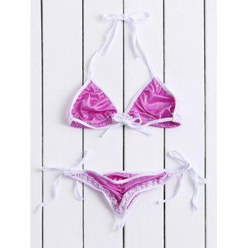 Alluring Halter Color Block Lace Embellished Women's Bikini Set - PURPLE PURPLE