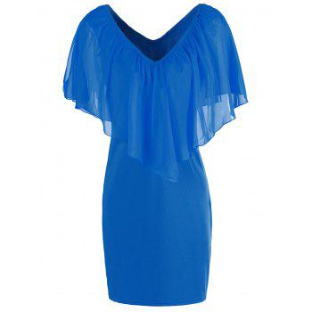 Stylish Women's V-Neck Off-The-Shoulder Solid Color Flounce Chiffon Dress