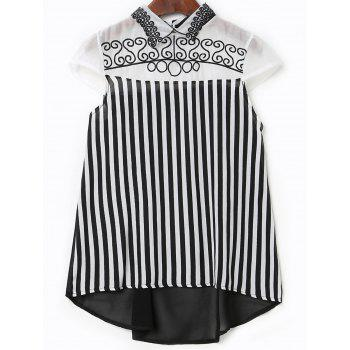 Stylish Women's Flat Collar Short Sleeves Embroidered Striped Blouse