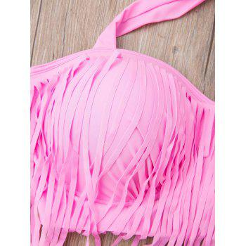 Plus Size High Waisted Bikini With Fringe Top - PINK PINK