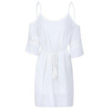 Sexy Half Sleeve Scoop Neck Off-The-Shoulder Women's Dress - WHITE XL