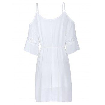 Sexy Half Sleeve Scoop Neck Off-The-Shoulder Women's Dress - WHITE WHITE