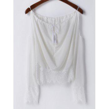 Sexy Long Sleeve Scoop Neck Off-The-Shoulder Women's Blouse - WHITE S