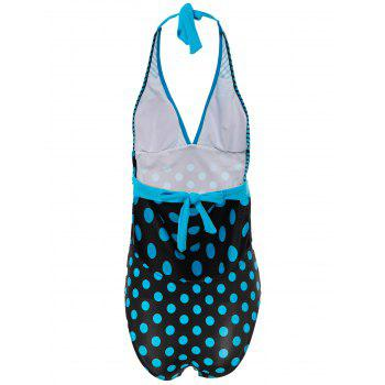 Sexy Halter Polka Dot Striped One-Piece Maillots de bain pour femmes - Pers 2XL