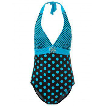 Sexy Halter Polka Dot Striped One-Piece Women's Swimwear - LAKE BLUE 3XL