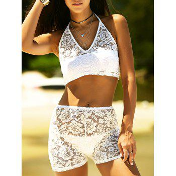 Halter Neck See Through Lace Swimwear
