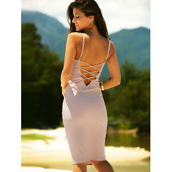 Women's Bodycon Spaghetti Strap Criss-Cross Dress - PINKBEIGE XL