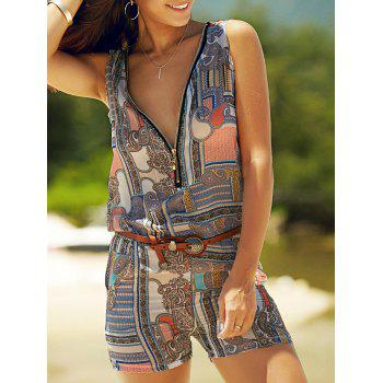 Trendy V Neck Sleeveless Abstract Print Zippered Romper