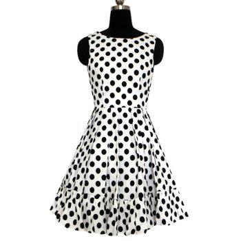 Women's Graceful Polka Dot Pleated Dress