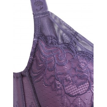 Women's Graceful Laced Splicing Padded Thin Bra - PURPLE 75C