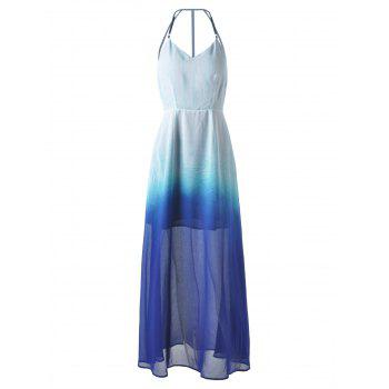 Elegant Women's Fitted Spaghetti Strap Ombre Dress