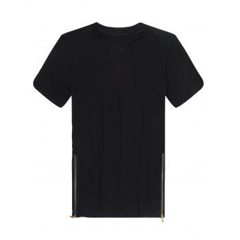 Men's Fashion Loose Fit Solid Color Zipper Design T-Shirt