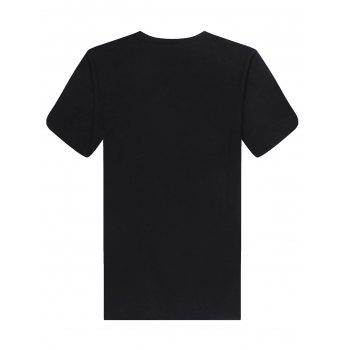 Men's Fashion Loose Fit Solid Color Zipper Design T-Shirt - BLACK XL