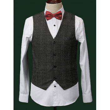 Formal Men's Checked Blazer + Vest + Pants With Bow Tie And Scarves - GRAY L
