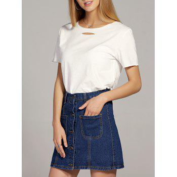 Round Neck Hollow Out T Shirt   Button Down Pocket Denim Skirt Women s Twinset