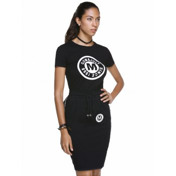 Chic Letter Print Round Neck T-Shirt + Pocket Design High-Waisted Skinny Skirt Women's Twinset - XL XL