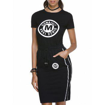 Chic Letter Print Round Neck T-Shirt + Pocket Design High-Waisted Skinny Skirt Women's Twinset - BLACK XL