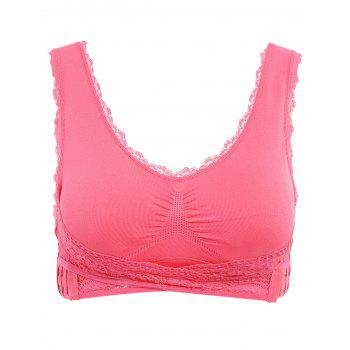 Graceful V Neck Solid Color Lace Splicing Push Up Women's Wrap Sports Bra - WATERMELON RED WATERMELON RED