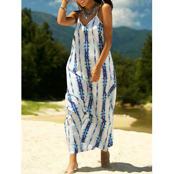 Stylish Women's Spaghetti Strap Tie Dyed Maxi Dress