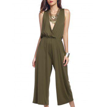 Surplice Criss Cross Stylish Wide Leg Women's Jumpsuit