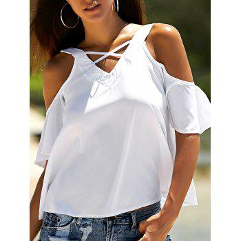 Criss Cross Cold Shoulder Flare Sleeve Blouse
