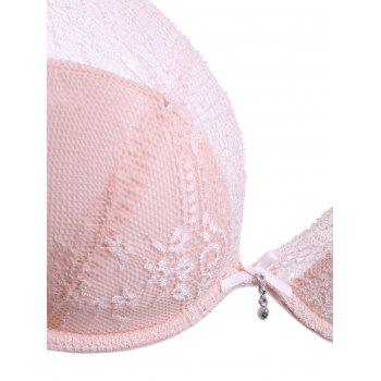 Elegant Plung 3/4 Cup See-Through Lace Spliced Women's Bra - PINK 75B