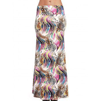 Chic High-Waist Abstract Print Long Skirt For Women