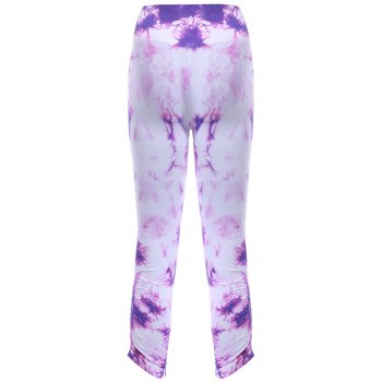 Sports Elastic Waist Tie Dyed Cropped Leggings - PURPLE M